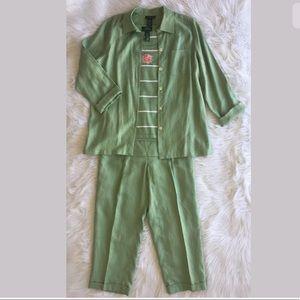 Ralph Lauren 3piece Green Linen Set Sz L